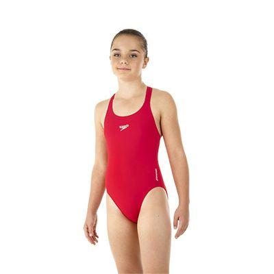 Speedo Endurance Medalist Girls Swim Suit-red-b