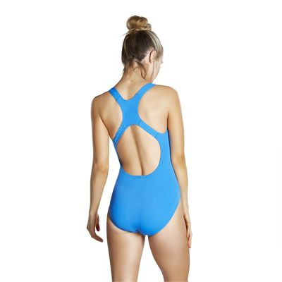 Speedo Endurance Medalist Ladies Swim Suit - Neon Blue - Back