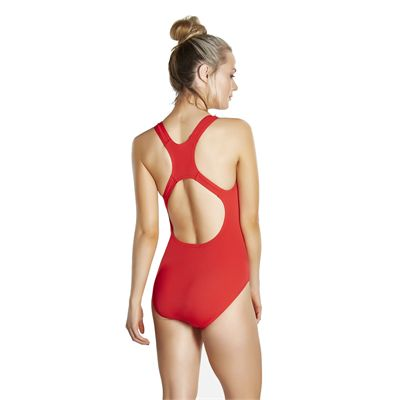 Speedo Endurance Medalist Ladies Swim Suit - Red - Back