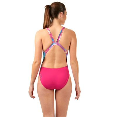 Speedo Endurance Plus Allover Digital Leaderback Ladies Swimsuit - Back