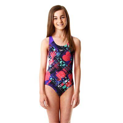 Speedo Endurance Plus Allover Splashback Girls Swimsuit - Front View