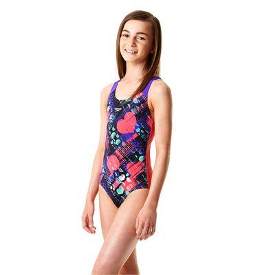 Speedo Endurance Plus Allover Splashback Girls Swimsuit - Side View