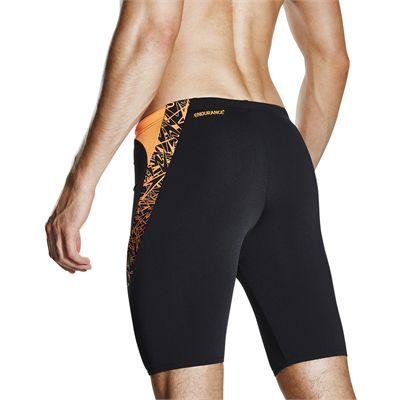Speedo Endurance Plus Boom Splice Mens Jammers - black-orange-back