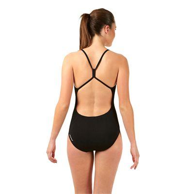Speedo Endurance Plus Essential Solid Rippleback Ladies Swimsuit Black Back View