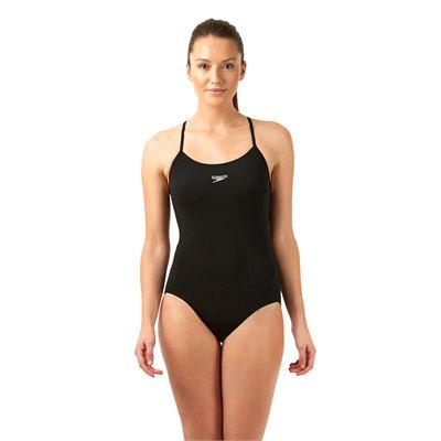 Speedo Endurance Plus Essential Solid Rippleback Ladies Swimsuit Black Front View