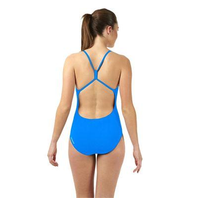 Speedo Endurance Plus Essential Solid Rippleback Ladies Swimsuit Blue Back View