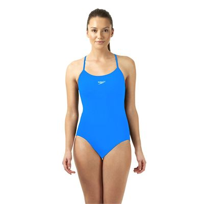Speedo Endurance Plus Essential Solid Rippleback Ladies Swimsuit Blue Front View