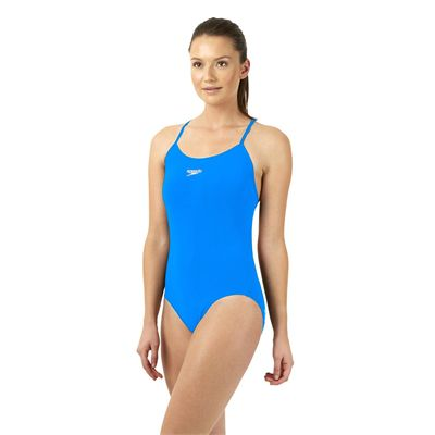 Speedo Endurance Plus Essential Solid Rippleback Ladies Swimsuit Blue Side View