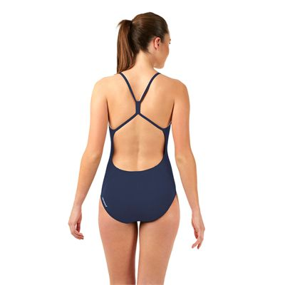 Speedo Endurance Plus Essential Solid Rippleback Ladies Swimsuit Navy Back View