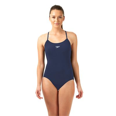 Speedo Endurance Plus Essential Solid Rippleback Ladies Swimsuit Navy Front View