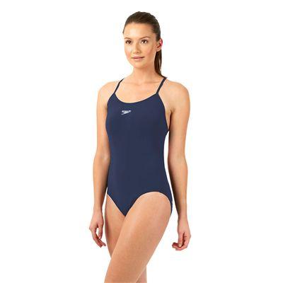 Speedo Endurance Plus Essential Solid Rippleback Ladies Swimsuit Navy Side View