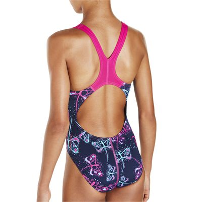 Speedo Endurance Plus Flashfly Allover Splashback Girls Swimsuit - Back