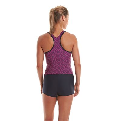 Speedo Endurance Plus Monogram Boyleg Ladies Tankini - Back View