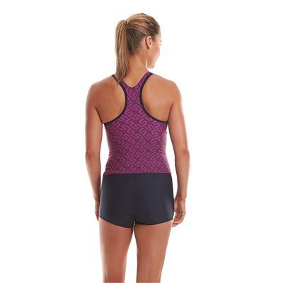 Speedo Endurance Plus Monogram Boyleg Ladies Tankini - Back View