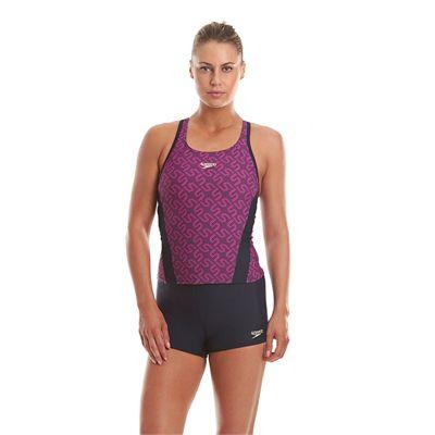 Speedo Endurance Plus Monogram Boyleg Ladies Tankini - Front View