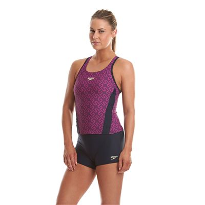 Speedo Endurance Plus Monogram Boyleg Ladies Tankini - Side View
