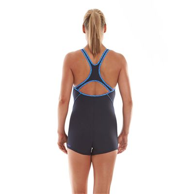 Speedo Endurance Plus Speedo Fit Ladies Legsuit Navy Blue Purple Back View