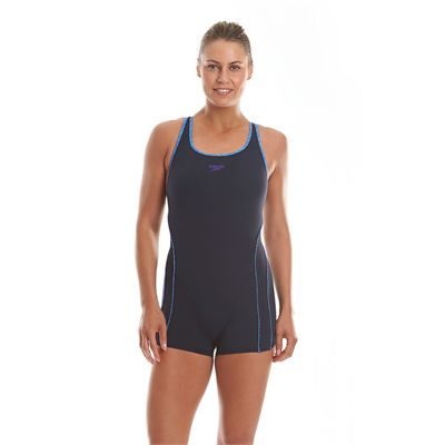 Speedo Endurance Plus Speedo Fit Ladies Legsuit Navy Blue Purple Front View