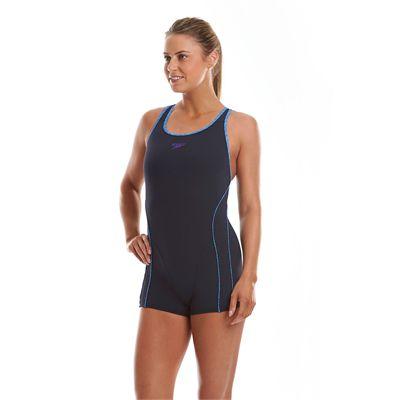 Speedo Endurance Plus Speedo Fit Ladies Legsuit Navy Blue Purple Side View