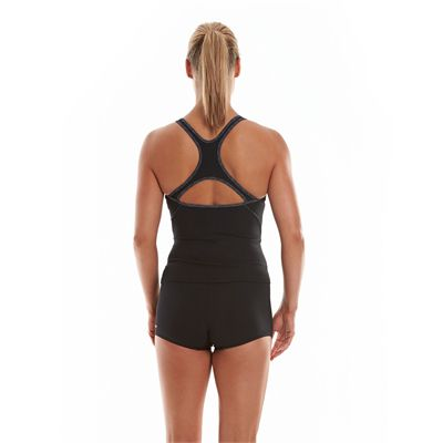 Speedo Endurance Plus Speedo Fit Ladies Tankini Black And Grey Back View