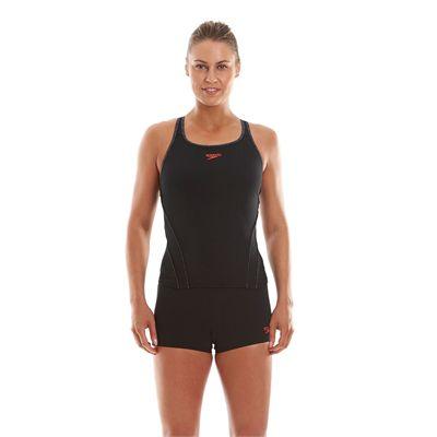 Speedo Endurance Plus Speedo Fit Ladies Tankini Black And Grey Front View