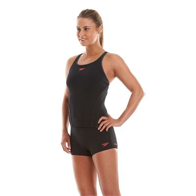 Speedo Endurance Plus Speedo Fit Ladies Tankini Black And Grey Side View