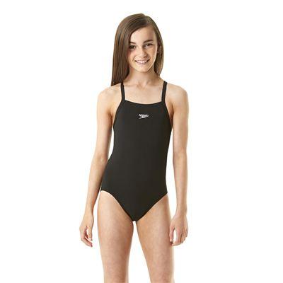 Speedo Endurance Solid Rippleback Girls Swimsuit Girl Black