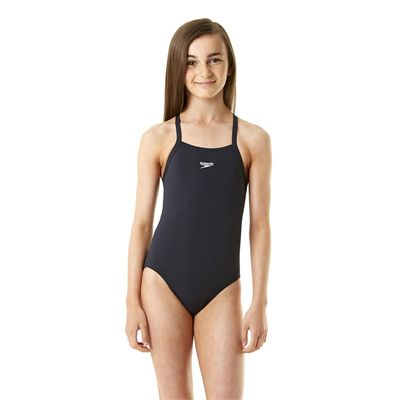 Speedo Endurance Solid Rippleback Girls Swimsuit Girl Navy