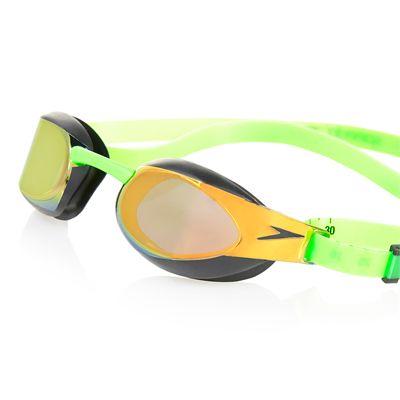 Speedo Fastskin3 Elite Goggle Mirror Goggles-Gold-Green-Close View