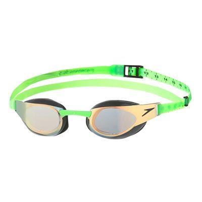 Speedo Fastskin3 Elite Goggle Mirror Goggles-Gold-Green-Front