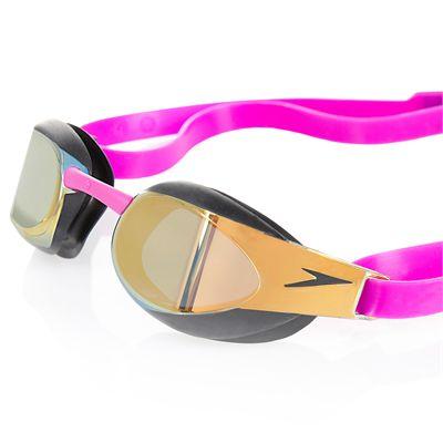 Speedo Fastskin3 Elite Goggle Mirror Goggles-Gold-Purple-Close View