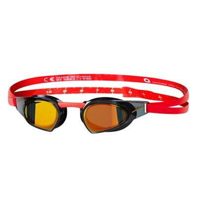 Speedo Fastskin Prime Mirrored Swimming Goggles-Gold-Black-Red
