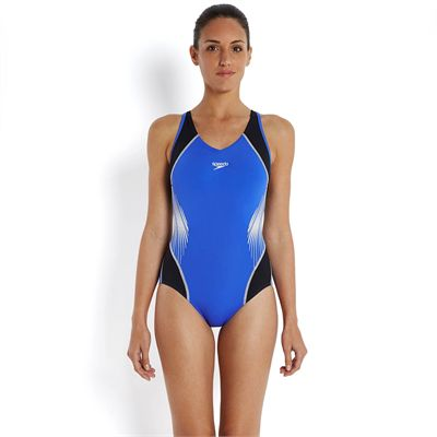 Speedo Fit Splice Muscleback Ladies Swimsuit-Blue-Black-White-Front