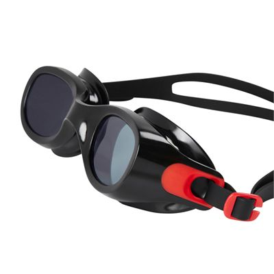 Speedo Futura Classic Swimming Goggles-Red-Smoke-Side