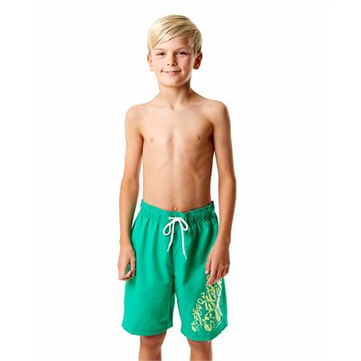 Speedo Graphic Logo 17 Inch Boys Watershorts-Green-Front View