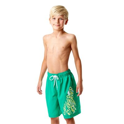 Speedo Graphic Logo 17 Inch Boys Watershorts-Green-Left Side View