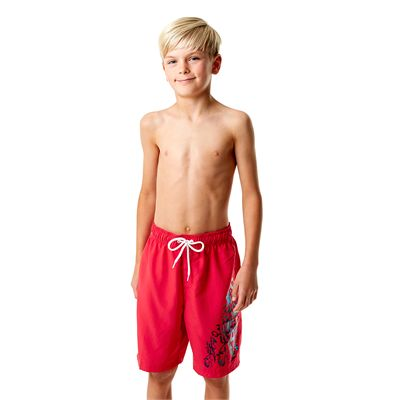 Speedo Graphic Logo 17 Inch Boys Watershorts-Red-Front View