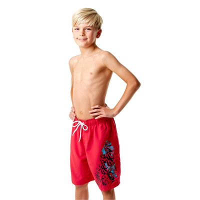 Speedo Graphic Logo 17 Inch Boys Watershorts-Red-Left Side View