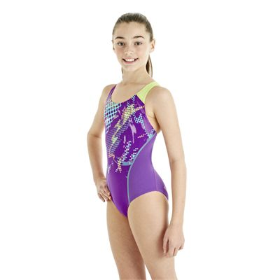 Speedo HydroTurn Placement Splashback Girls Swimsuit - Purple/Green