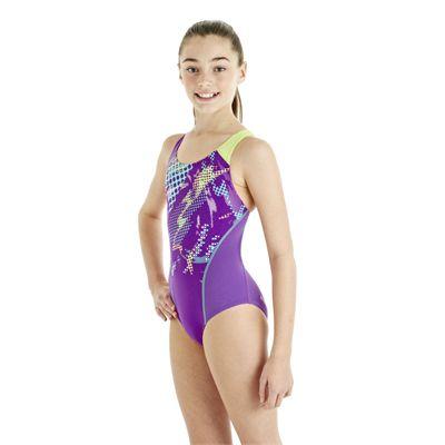 Speedo HydroTurn Placement Splashback Girls Swimsuit - Purple/Green