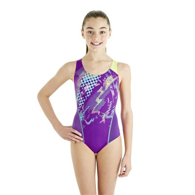 Speedo HydroTurn Placement Splashback Girls Swimsuit - Purple/Green - Front View