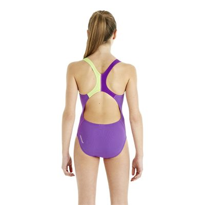 Speedo HydroTurn Placement Splashback Girls Swimsuit - Purple/Green - Back View