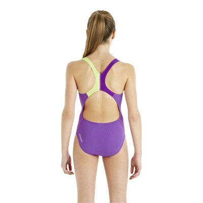Speedo HydroTurn Placement Splashback Girls Swimsuit - Purple/Green - Back View