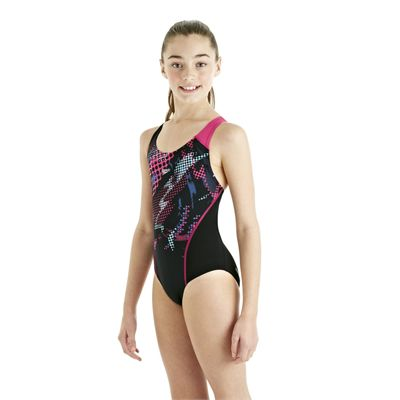 Speedo HydroTurn Placement Splashback Girls Swimsuit - Black/Pink