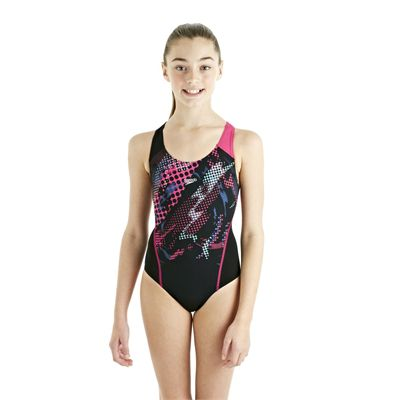 Speedo HydroTurn Placement Splashback Girls Swimsuit - Black/Pink - Front View