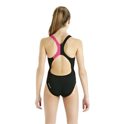 Speedo HydroTurn Placement Splashback Girls Swimsuit - Black/Pink - Back View
