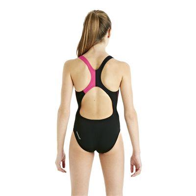 Speedo HydroTurn Placement Splashback Girls Swimsuit - Black/Pink - Back View