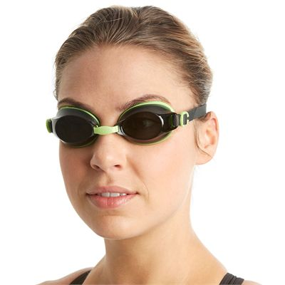 Speedo Jet Swimming Goggles - Green/Smoke - In Use2