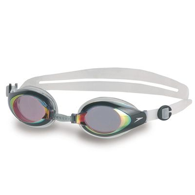 Speedo Mariner Mirror Swimming Goggles Red Clear