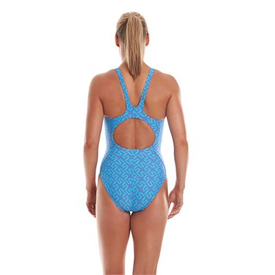 Speedo Monogram Allover Muscleback Ladies Swimsuit Back View